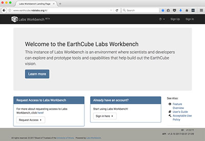 image of EarthCube Building Blocks homepage